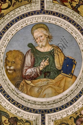 Rome, Basilica of St. Maria del Popolo, Vault of the Choir:  frescoes (1505 - 1510) by Pinturicchio (Bernardino di Betto). Detail of Saint Marc the Evangelist.