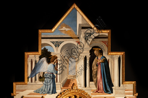 Perugia, National Gallery of Umbria: Polyptych of S. Antonio, by Piero della Francesca, 1467-9, oil on panel. Detail of the Cymatium: Annunciation.