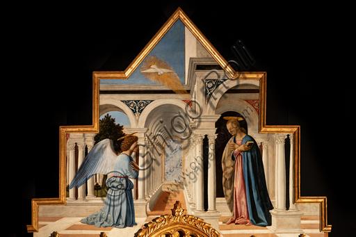 Perugia, Galleria Nazionale dell'Umbria: Polittico di S. Antonio, di Piero della Francesca, 1467-9, olio su tavola. Particolare della cimasa: Annunciazione.