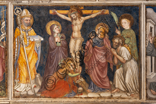 Foligno, Trinci Palace, the chapel: frescoes by Ottaviano Nelli, realised in 1424.  Detail of the Crucifixion.