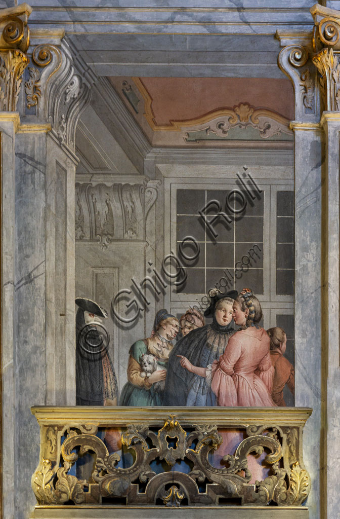 Brescia, Teatro Grande: the Entrance Hall or Foyer. The room is perhaps one of the most admirable examples of 18th-century architectural splendor applied to a theatre. The ornamental decoration was entrusted to the Venetian painters Francesco Battaglioli and Francesco Zugno. Detail of the decoration.