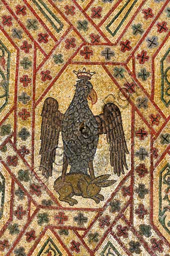 Palermo, The Royal Palace or Palazzo dei Normanni (Palace of the Normans), Pisana Tower,  the King Roger Room (the Room which was commissioned by King Roger II d'Altavilla): detail of the decoration of the vault with mosaics of animals. These mosaics date back to the period of Frederick II.Detail with an eagle gripping a rabbit (emblem of Emperor Frederik II).