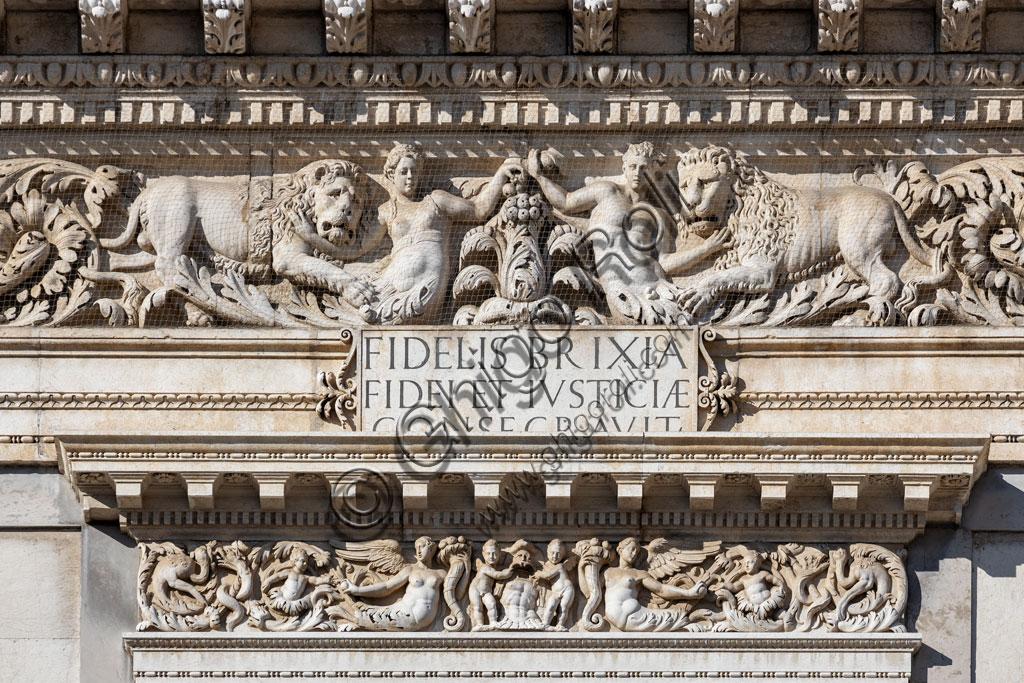 Brescia, piazza della Loggia (a Renaissance square where the Venetian influence is evident), Palazzo della Loggia: detail of the white Botticino marble facade.