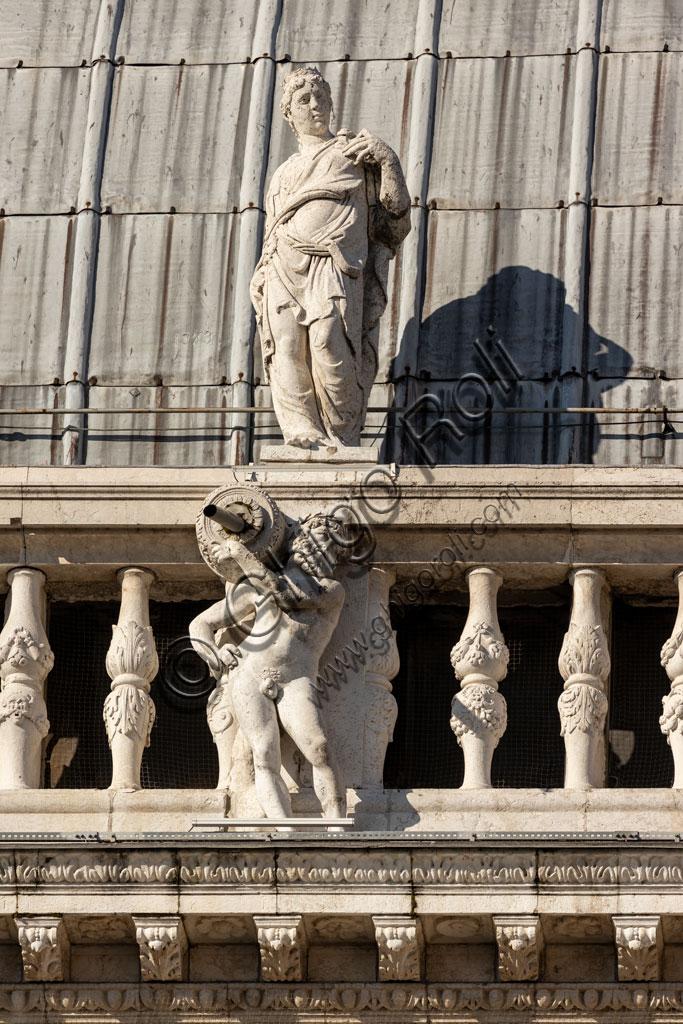 Brescia, piazza della Loggia (a Renaissance square where the Venetian influence is evident), Palazzo della Loggia: detail of the white Botticino marble facade  with statues.