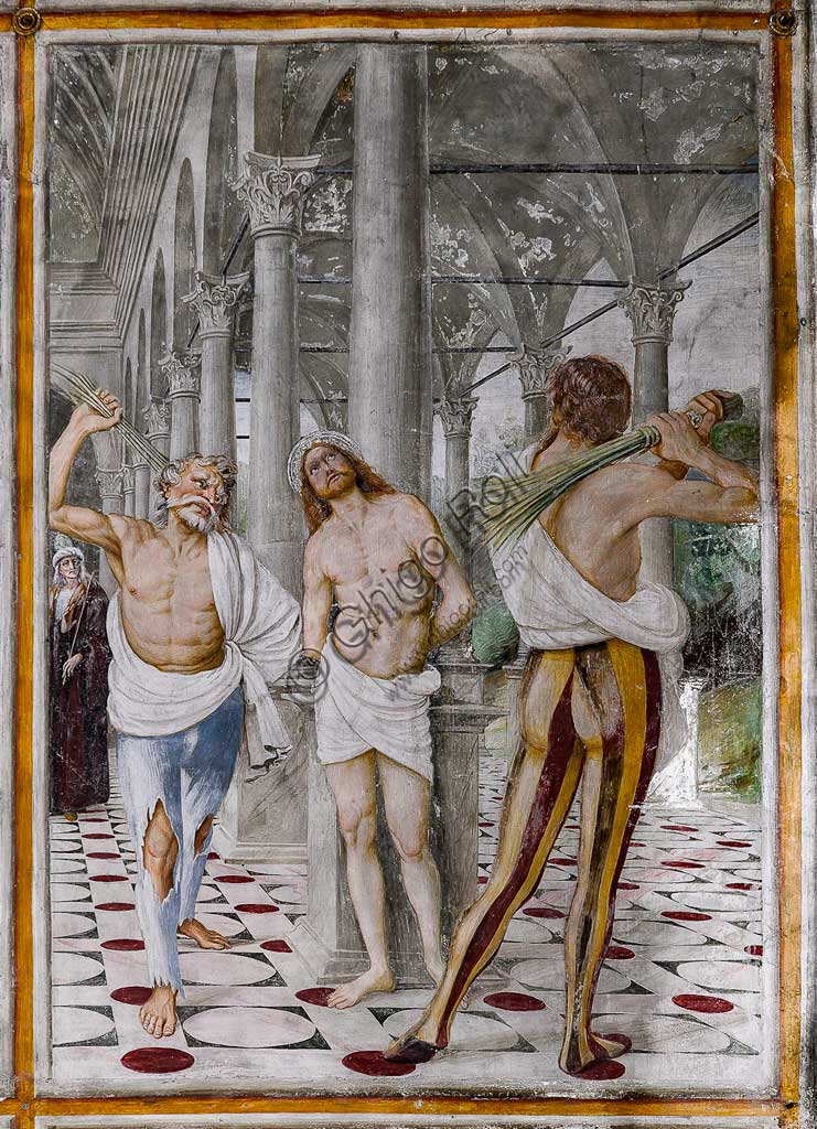"Varallo Sesia, Church of Santa Maria delle Grazie: frescoes of the Gaudenzio Ferrari wall ""The life and the Passion of Christ"", by Gaudenzio Ferrari, 1513. Detail of ""The Flagellation of Christ""."