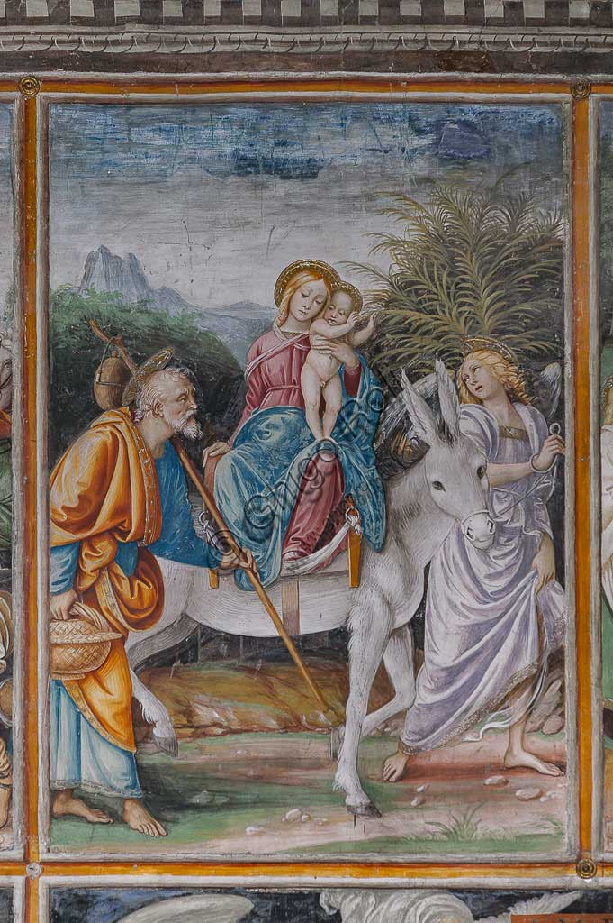 "Varallo Sesia, Church of Santa Maria delle Grazie: frescoes of the Gaudenzio Ferrari wall ""The life and the Passion of Christ"", by Gaudenzio Ferrari, 1513. Detail of ""Flight into Egypt""."