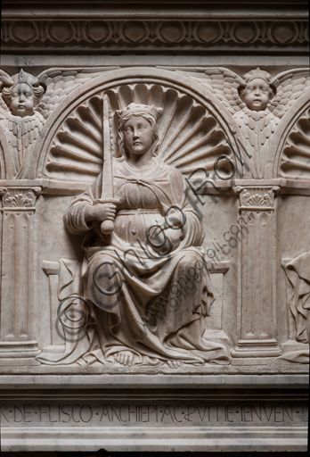 """, Genoa, Duomo (St. Lawrence Cathedral), inside, Northern aisle, De Marini Chapel: """"Funerary Monument of Giorgio Fieschi - Detail of Justice"""", by Giovanni Gagini, 1461."""