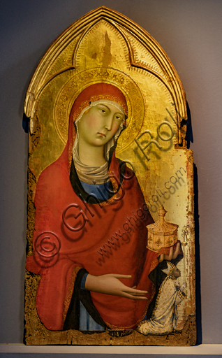 Orvieto, MODO (Museum of the Opera of the  Duomo of Orvieto):  The Virgin with the Child flanked by St. Magdalene, St. Dominic, St. Peter and St. Paul, tempera, gold and silver leaf on panel, by Simone Martini, 1320-1. Detail of St. Magdalene.