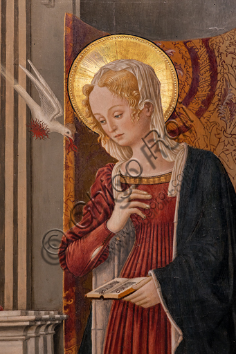 Perugia, National Gallery of Umbria: Annunciation of the Notaries, by Benedetto Bonfigli,1450-3, tempera on panel. Detail of the Virgin Mary and a dove (Symbol of the Holy Spirit).
