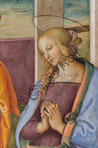 "Montefalco, Museum of St. Francis, Church of St. Francis: ""Nativity with the Annunciation and the Eternal among angels and cherubs"", by Pietro Vannucci known as  Perugino, 1503. Fresco. Detail of the ""Nativity"": the Virgin Mary."