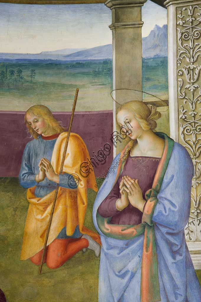 "Montefalco, Museum of St. Francis, Church of St. Francis: ""Nativity with the Annunciation and the Eternal among angels and cherubs"", by Pietro Vannucci known as  Perugino, 1503. Fresco. Detail of the ""Nativity""."