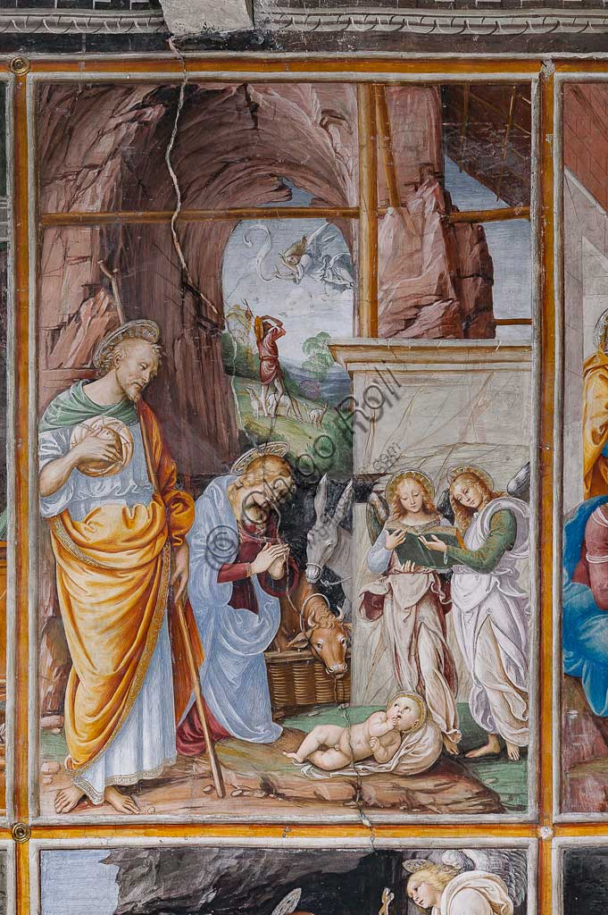 "Varallo Sesia, Church of Santa Maria delle Grazie: frescoes of the Gaudenzio Ferrari wall ""The life and the Passion of Christ"", by Gaudenzio Ferrari, 1513. Detail of ""The Nativity""."