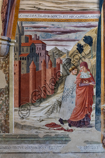 Montefalco, Museum of St. Francis, Church of St. Francis, Chapel of St. Jerome: frescoes by Benozzo Gozzoli, 1452. Detail of the wall with St. Jerome leaving Rome.