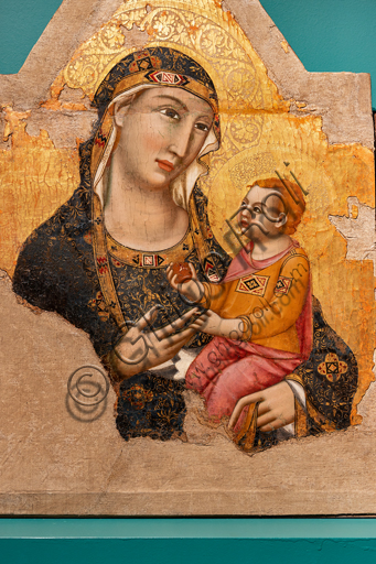 Perugia, National Gallery of Umbria: five panel painting by Meo da Siena, second quarter of the fourteenth century. Detail of  the centre,  Madonna and Child. Tempera and gold background on board.