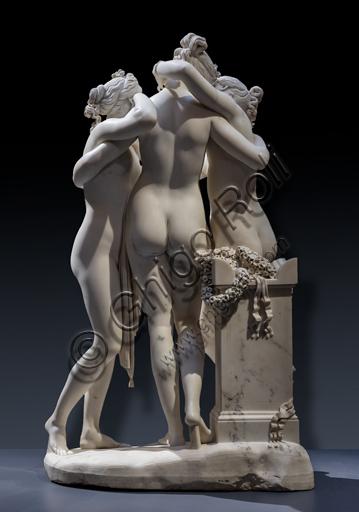 """""""Le tre Grazie"""", 1812-17, di Antonio Canova (1757 - 1822), marmo. Dettaglio della parte posteriore."""