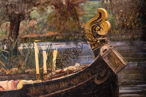 """The Lady of Shalott"", 1888 by  John William Waterhouse  (1849 - 1917); oil painting on canvas. The subject is based on the poem by Alfred Tennyson of the same name. Detail of the boat bow."