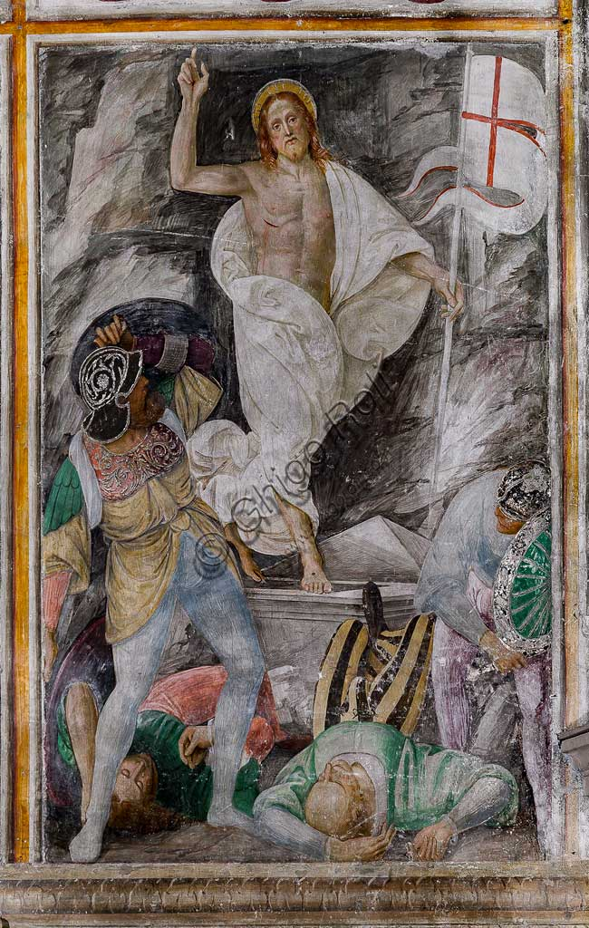 "Varallo Sesia, Church of Santa Maria delle Grazie: frescoes of the Gaudenzio Ferrari wall ""The life and the Passion of Christ"", by Gaudenzio Ferrari, 1513. Detail of the ""Resurrection of Christ""."