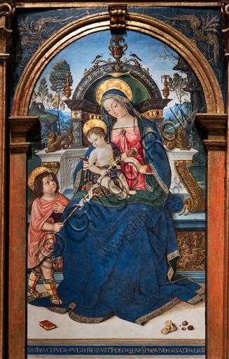 Perugia, Galleria Nazionale dell'Umbria: Pala di Santa Maria dei Fossi, di Bernardino di Betto detto il Pinturicchio, 1495 - 6, tempera su tavola.  Particolare della Sacra Famiglia.