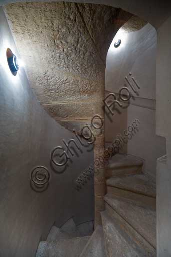 Palermo, The Royal Palace or Palazzo dei Normanni (Palace of the Normans), The Pisana Tower: detail of the original spiral stairway.