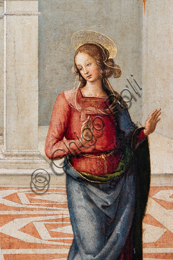 Perugia, National Gallery of Umbria: Annunciation, by Pietro di Cristoforo Vannucci, known as Perugiano, 1475 or 1493, tempera on panel. Detail of the Virgin