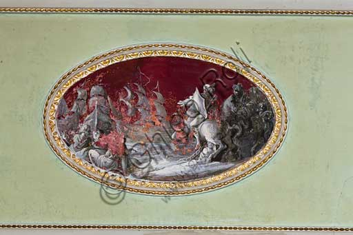 Palermo, The Royal Palace or Palazzo dei Normanni (Palace of the Normans), The Greek Tower, the Apartment of Charles III Borbone (The Formica Hall): detail of the frescoed vault.