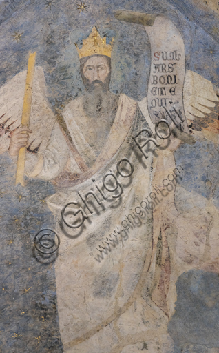 """Allegoria del Diritto"""". Affreschi di Jacopo di Cione (fratello dell'Orcagna, 1366-1406), particolare della volta del Palazzo dell'Arte dei Giudici e Notai, o del Proconsolo a Firenze."""