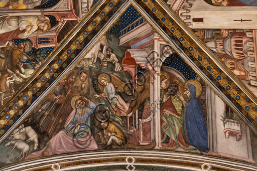 Foligno, Trinci Palace, the chapel: frescoes by Ottaviano Nelli, realised in 1424.  Detail of vault: The angel guarantees the offspring to Joachim and Anne.