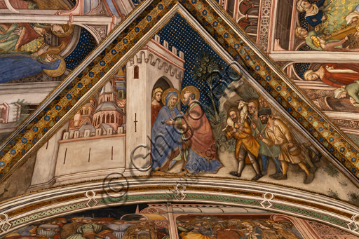 Foligno, Trinci Palace, the chapel: frescoes by Ottaviano Nelli, realised in 1424.  Detail of vault: Anna and Joachim meeting at the golden door of Jerusalem.