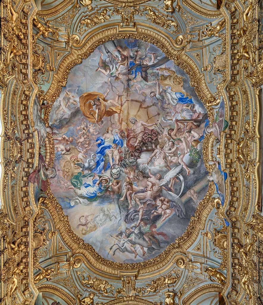 Genova, Palazzo Carrega-Cataldi (già Palazzo Tobia Pallavicini): la Galleria, con affreschi rococò di Lorenzo De Ferrari (1740-44). Particolare della volta: l'Olimpo.Patrimonio mondiale dell'Umanità UNESCO.