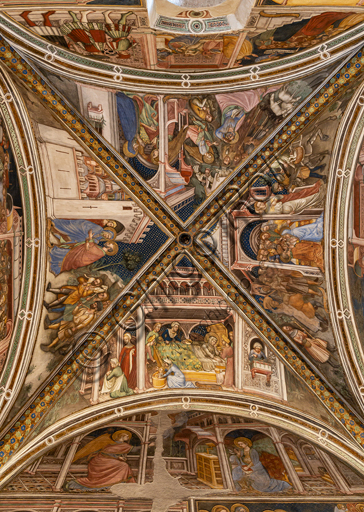 Foligno, Trinci Palace, the chapel: frescoes by Ottaviano Nelli, realised in 1424.  Detail of vault: Marriage of St. Anne; The Angel promises offspring to Joachim and Anna; Their meeting at the golden door of Jerusalem; Nativity of Mary.