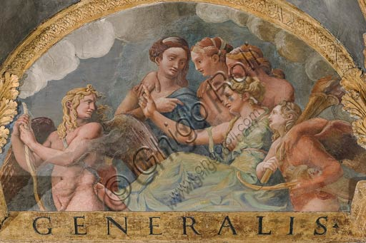 Mantua, Palazzo Te (Gonzaga's summer residence), Sala di Amore e Psiche: view of the vault, with frescoes by Giulio Romano and his assistants (1526 - 1528). Giulio Romano got his inspiration from Apuleius' Metamorphoses.Detail of the vault with Venus scolding Eros.