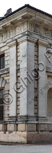 Mantua, Palazzo Te (Gonzaga's Summer residence): detail  of the Northern and  Easterncorner.