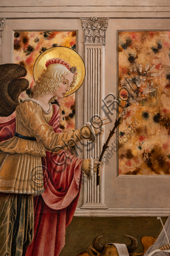 Perugia, National Gallery of Umbria: Annunciation of the Notaries, by Benedetto Bonfigli,1450-3, tempera on panel. Detail of the Archangel with the lily.