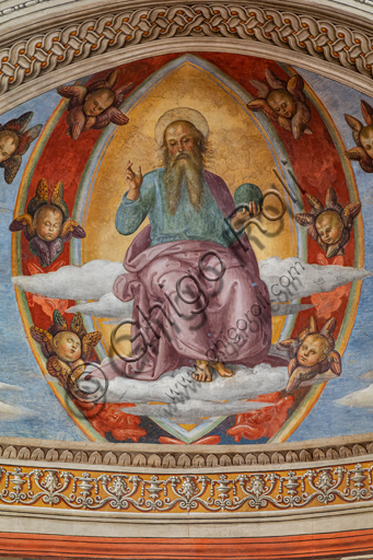 "Montefalco, Museum of St. Francis. Church of St. Francis: ""Nativity with the Annunciation and the Eternal among angels and cherubs"", by Pietro Vannucci known as  Perugino, 1503. Fresco. Detail of  ""The blessing Eternal in Vesica Piscis between cherubs""."