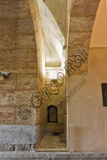 Palermo, The Royal Palace or Palazzo dei Normanni (Palace of the Normans), entrance hall to the Maqueda courtyard from the Parliament square: detail of the interspace towards the Greek Tower.