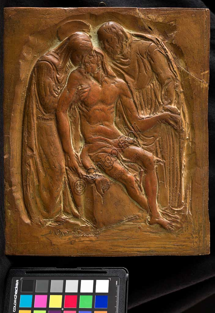"Assicoop - Unipol Collection:  Marino Quartieri; ""Lamentation over the Dead Christ""; Earthenware bas relief, cm. 20,5 x 24,5."