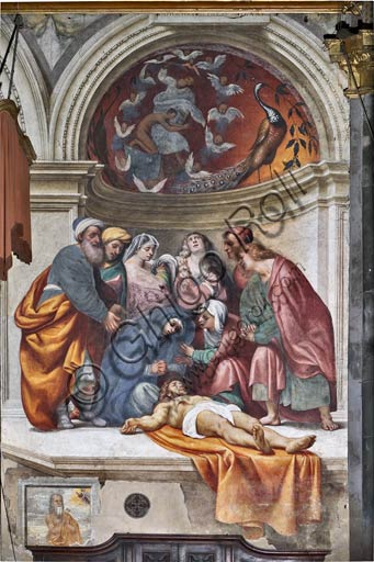 "Cremona, Duomo (the Cathedral of Santa Maria Assunta), interior, counterfaçade: ""Deposition"", fresco by Pordenone (Giovanni Antonio de' Sacchis), 1521."
