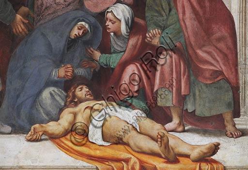 """Cremona, Duomo (Cattedrale di Santa Maria Assunta), interno, controfacciata: particolare della """"Deposizione"""", affresco del Pordenone (Giovanni Antonio de' Sacchis), 1522."""