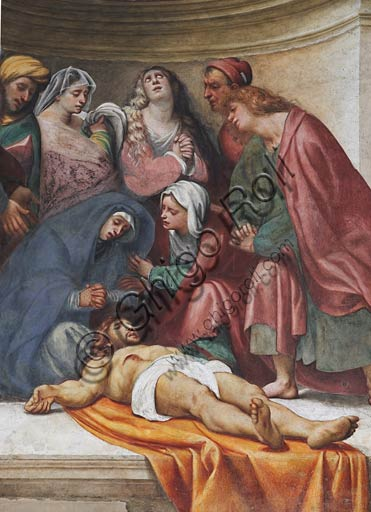 "Cremona, Duomo (the Cathedral of Santa Maria Assunta), interior, counterfaçade: detail of the  ""Deposition"", fresco by Pordenone (Giovanni Antonio de' Sacchis), 1521."