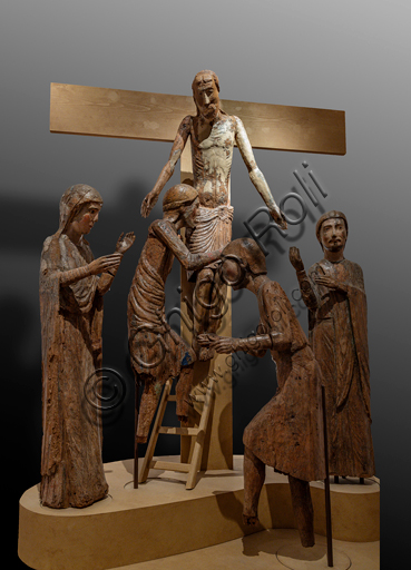 """Spoleto, Diocesan Museum: """"Lamentation of Christ"""" (Roccatamburo Group), maple wooden painted statue, by workshop in central Italy, half XIII century."""