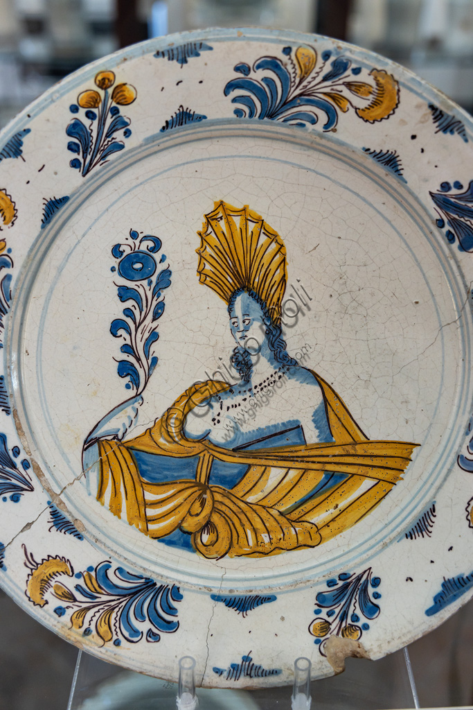 Deruta, Regional Ceramics Museum of Deruta: plate decorated by a woman's bust, majolica, Laterza, 18th century.
