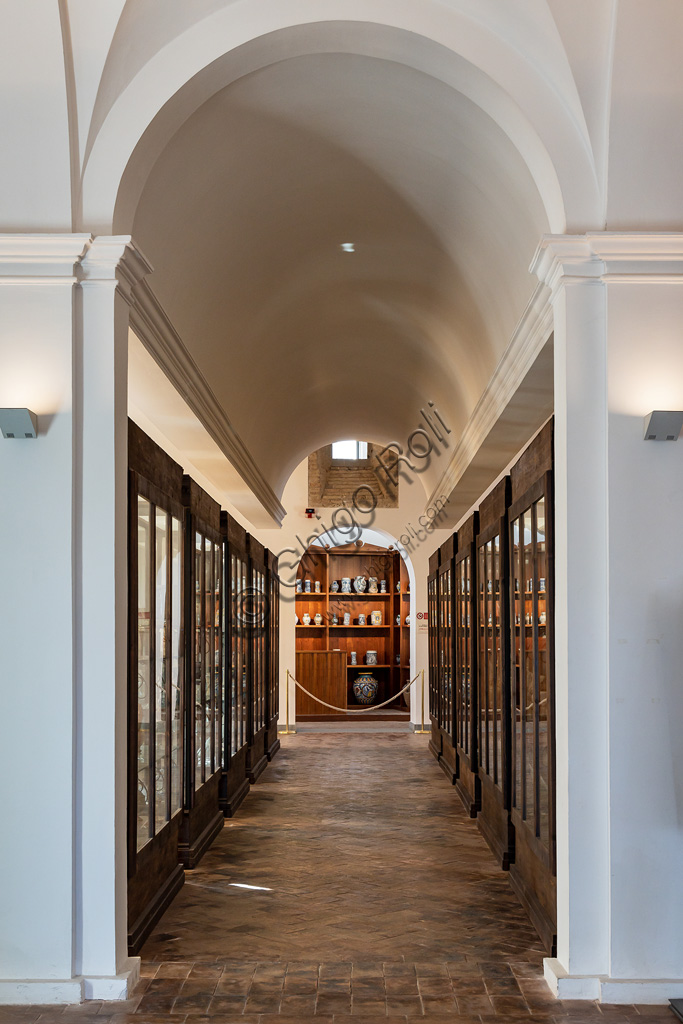 Deruta, Regional Ceramics Museum of Deruta: view of a corridor with display cabinets.