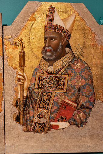Perugia, National Gallery of Umbria: five panel painting by Meo da Siena, second quarter of the fourteenth century. Deail, on the right S. Herculanus. Tempera and gold background on board.