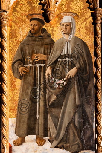 Perugia, National Gallery of Umbria: Polyptych of S. Antonio, by Piero della Francesca, 1467-9, oil on panel. Detail: on the right, St. Francis and St. Elizabeth of Hungary.