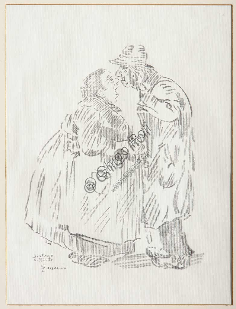 "Assicoop - Unipol Collection: Remo Zanerini (1923 - ), ""Difficult Dialogue"". Pencil on paper."