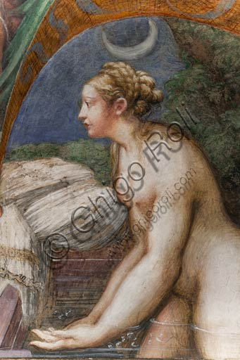 Parma, Fontanellato, Rocca Sanvitale, room of Diana and Actaeon: detail of Diana bathing, from the cycle of frescoes by Parmigianino (Girolamo Francesco Maria Mazzola) depicting the myth of Diana and Actaeon, taken from Ovid's Metamorphoses. The room, frescoed in 1524, probably was the bathroom of Paola Gonzaga, wife of Galeazzo Sanvitale.