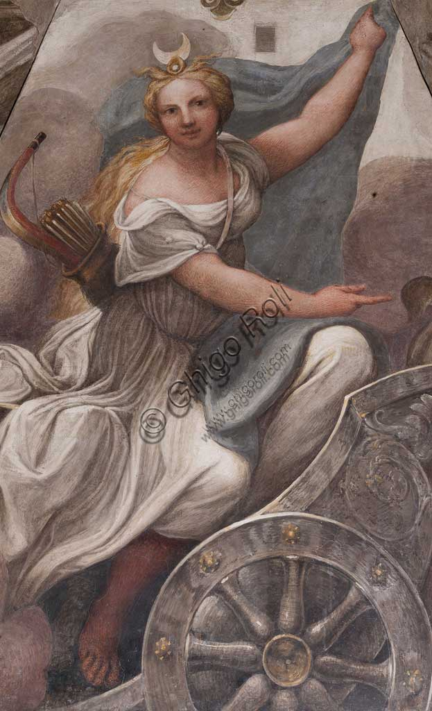 "Parma, Former Monastery of St. Paul, Chamber of the Abbess or of St Paul or of Giovanna da Piacenza, the stove hood: ""Diana on a chariot"",  fresco by Antonio Allegri, known as il Correggio (1518-9). Diana probably is a mythical representation of the Abbess Giovanna da Piacenza who was Correggio's client."