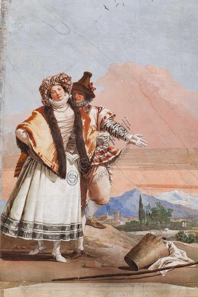 """Vicenza, Villa Valmarana ai Nani, Foresteria, Stanza delle finte architetture gotiche: """"Dichiarazione d'amore""""; affresco di Giandomenico Tiepolo, 1757."""