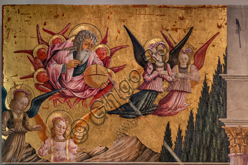 Perugia, National Gallery of Umbria: Annunciation of the Notaries, by Benedetto Bonfigli,1450-3, tempera on panel. Detail of God and angels.