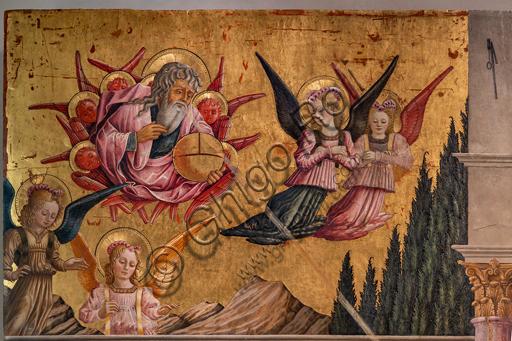 Perugia, Galleria Nazionale dell'Umbria: Annunciazione dei Notai, di Benedetto Bonfigli,1450-3, tempera su tavola. Particolare con Dio e Angeli.